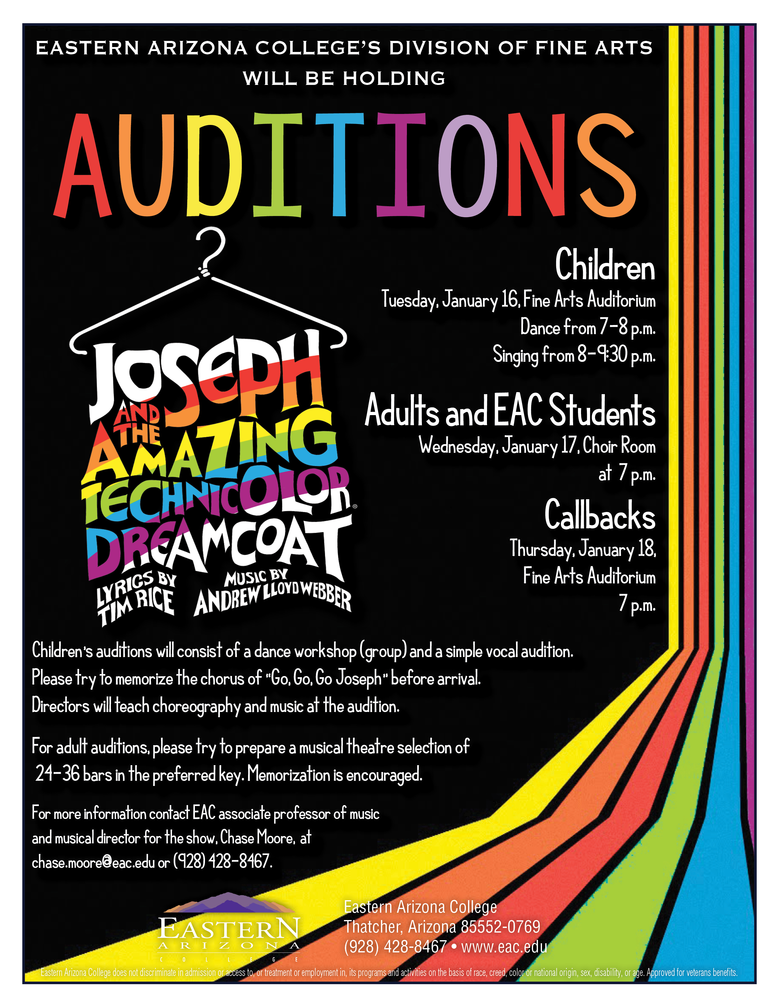 Click Image To Enlarge Theatre Auditions Announced For EACs Joseph And The Amazing Technicolor Dreamcoat