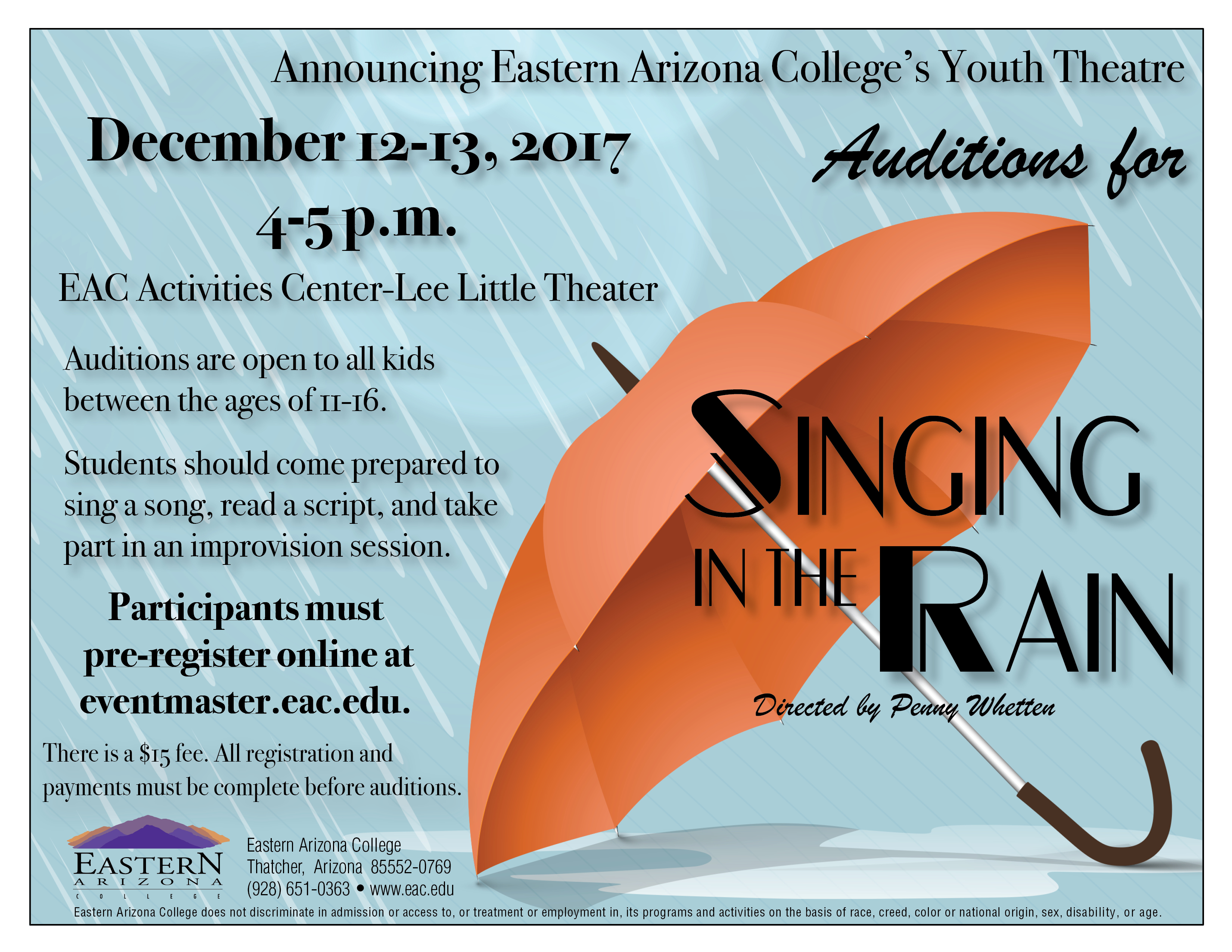 News Releases Details - EAC Announces Youth Theatre auditions for