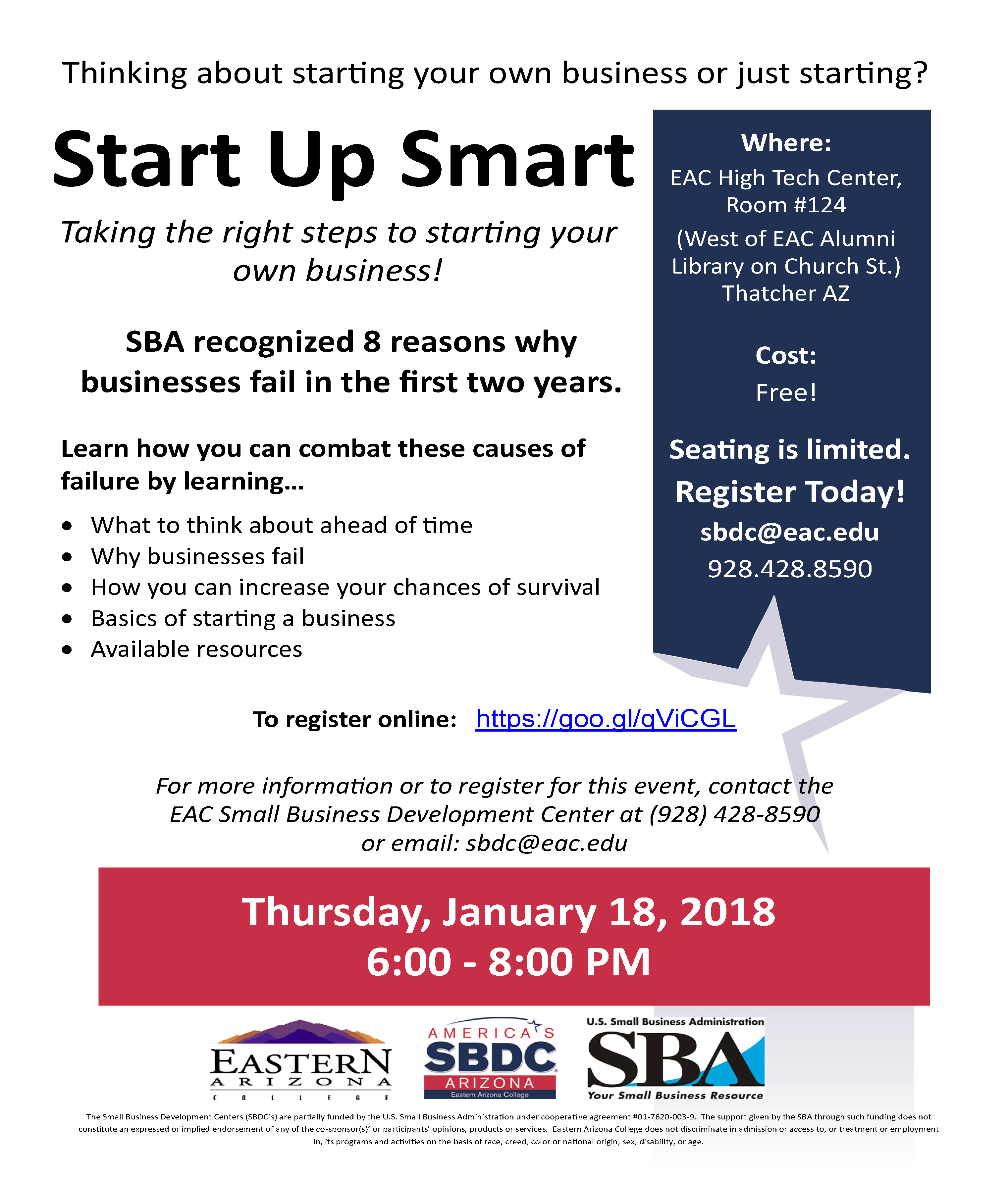 """News Releases Details - EAC's SBDC offering """"Start Up Smart"""